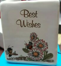 """Philip Laureston England China """"Best Wishes""""  Card / Ornament Approx 6.5 x 5cm"""