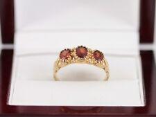 Garnet Trilogy Ring 9ct Gold Ladies Vintage Size O 375 I98