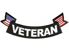 "(L38) VETERAN with FLAG 11"" x 4"" Large BOTTOM ROCKER iron on back patch (1013)"