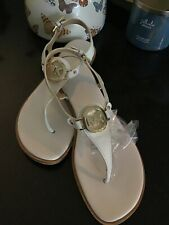 MICHAEL KORS White Lee Leather & Gold Medallion Tstrap Flat Sandal Sz 8.5