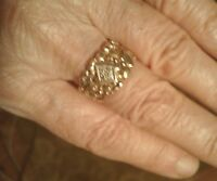 Vtg ring 14Kt handmade man woman Wedding Cigarband yellow gold UNIQUE size 7 60s