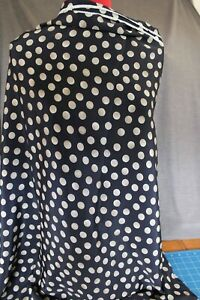 Remnant Polyester Fabric 1.50mtr x 112cm  - Ink Navy with Spot Print R451