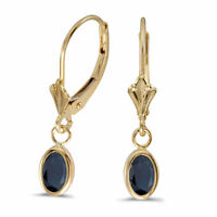 14k Yellow Gold Oval Sapphire Bezel Lever-back Earrings