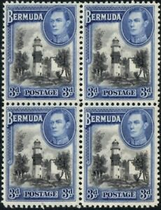 Bermuda 1941 KGVI  3d Black & Deep Blue  Block of 4  SG.114a Mint (MNH)