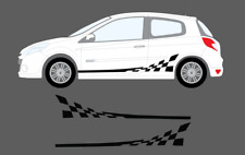 Renault Clio Mk4 3dr 2012- Chequer Flag Style Side Stripe Graphics Decal Set 197