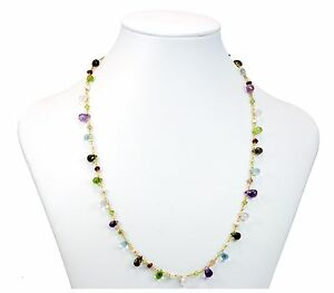 Multiple Gemstone Necklace Amethyst Topaz Peridot Pearl 14k Gold Filled 36 Inch
