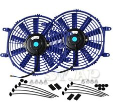 "2X Jdm 10"" Inch Radiator Fan Thin Electric Cooling 12V 1500Cf Blue+Mounting Kit"