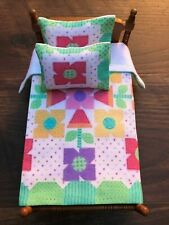 Miniature dollhouse Bedspread Comforter blanket with 2 Pillows 1:12 scale #C30