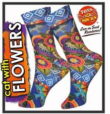 Laurel Burch Women's Cat with Flowers Socks