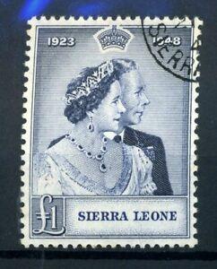 Sierra Leone 1948 rsw silver wedding £1 fine used SG 204