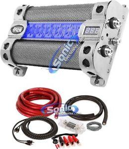 Boss CAP8 8 Farad LED Digital Car Power Capacitor Cap + 0 Gauge Wire Kit Pack
