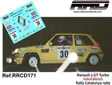 """DECAL CALCA 1//43 RENAULT 5 GT TURBO /""""ANCAP/"""" G TRELLES RALLY ALICANTE 1987"""