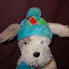 "Puppy Hat Scarf White Floppy Plush Stuffed Animal 13"" Long HugFun International"