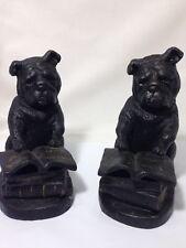 Rare Antique Cast Iron English Bulldogs Reading Books/Bookends/Statue/Fig urines