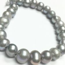 Large Holed Freshwater Silver Potato Pearls 8-10mm - 17480
