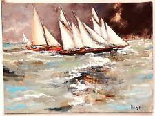 Urbain Huchet Huile sur toile signée la mer la tempête la voile les voiliers