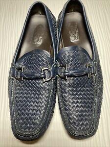 "Salvatore Ferragamo ""Round"" Navy Blue Leather Woven Bit Driving Loafer Mens 11 D"