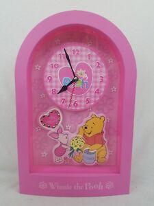 Disney WINNIE THE POOH Pink Hanging Wall Clock - Year 2000