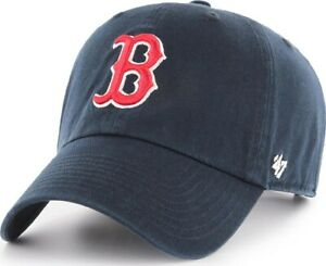 Forty Seven 47 Brand Boston Red Sox Navy Clean Up Curved Visor Strapback Cap