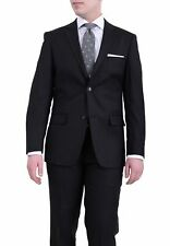 Mens 44L Pronto Modo Slim Fit Solid Black Twill Two Button Wool Suit