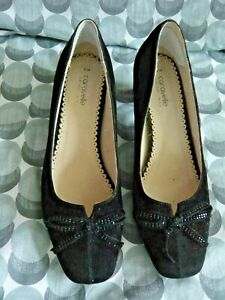 NEW......Caravella Black Shoes With Sparkly Bows On The Front Size 6