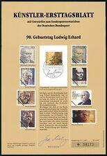 BRD KÜNSTLER-ETB 1987/3 LUDWIG ERHARD KÜNSTLER-ERSTTAGSBLATT LTD. EDITION