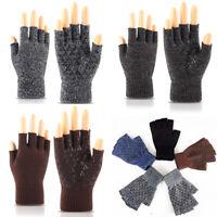 Chic Men Knitted Stretch Elastic Warm Half Finger Fingerless Gloves Winter Suppl