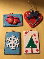 Set of 4 Soft Plastic Christmas ornaments. Heart and gift figurines.