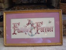 Families Are Forever Framed Matted Cross-Stitch W/ Glass Frame Mat Free Shipping