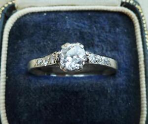 Platinum art deco 0.85ct diamond solitaire engagement ring