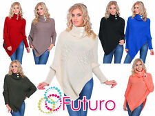 Long Sleeve Plus Size Poncho Jumpers & Cardigans for Women