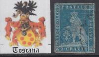 ITALY TOSCANA 1851 2 crazie n.5b azzurro vivo on azure paper  cv 600$