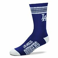 Los Angeles Dodgers For Bare Feet MLB 4 Stripe Deuce Crew Socks SZ Large