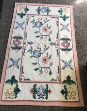 Flat Weave Kilim Floral Pastel Rug India Dhurrie Wool 46x72