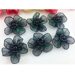 10-50 Pcs 40MM DIY Satin Ribbon Flower with pearl Wedding Appliques/Crafts