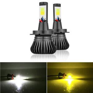 H7 LED Bulb Fog Light Kit 6000K White 3000K Yellow 80W 9600LM Dual Color Lamp