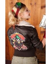 Women's Comic Wild Joker Leather Bombshell Harley Quinn Brown Jacket