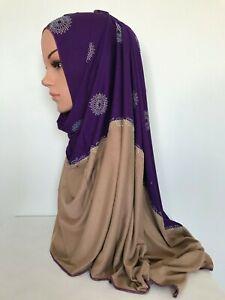 Premium Cotton Jersey Scarf Hijab Muslim Head cover Rectangle 160x 60cm
