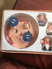 "1995 Hand Painted RAGGEDY ANN & ANDY MINI TEA SET/SET of 8 w/ box Polyresin 2"" T"