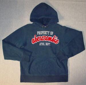 Abercrombie Kids Hoodie Sweatshirt XL Boy's Navy Blue Varsity Logo X30