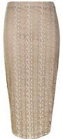Lace Floral Pencil Bodycon Womens Tube High Waist Midi Skirt Ladies Size 8-16