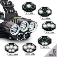 250000LM 5X T6 LED Headlamp Head Torch Light Flashlight Camping Rechargeabl G2J0