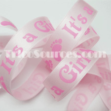 "Baby Shower Satin Ribbon It's a Boy/Girl Printing Ribbon 7/8""(22mm) x25YDS-B4037"