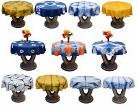 Hand Dyed Shibori Table Cloth Round Patio Table Cover Christmas Gift Tablecover