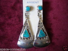 BOUCLE D' OREILLE VINTAGE 1970 ARGENT TURQUOISE NEUF /TURQUOISE SILVER EARRINGS