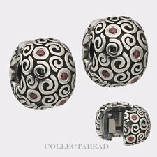 Authentic Pandora Sterling Silver Red CZ Fire Clips (2) 790962CZR