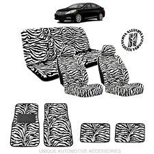WHITE & BLACK ZEBRA ANIMAL PRINT SEAT COVERS & MATS COMBO 15PC SET FOR CARS 3112