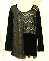 WOMEN'S STYLE & CO BLACK GOLD GLITTER COLORBLOCK LONG SLEEVE TOP SIZE L