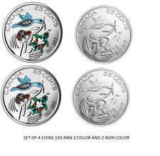 2017 COLORED 25 CENTS 2017 Canada 150th Anniversary coins set of four