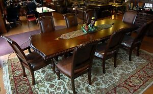 7 Piece Dark Cherry & Mahogany Dining Table & Chair Set